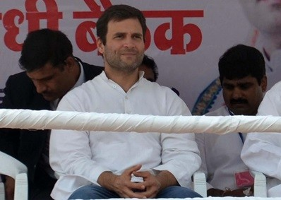 Congress Vice President Rahul Gandhi during a party meeting at Sevagram in Wardha of Maharashtra on Jan.24, 2014.(Photo: Sandeep Mahankal/IANS)