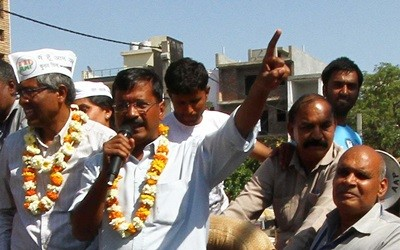 Aam Aadmi Party (AAP) leaders Arvind Kejriwal, Ashutosh and others during an election campaign in Pitampura of New Delhi on April 1, 2014. (Photo: IANS)